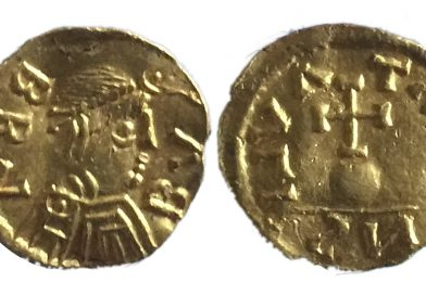 Merovingian gold Tremissis coin portraying king bubba